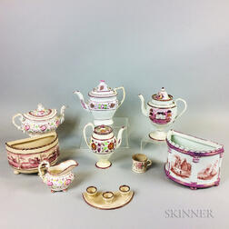 Eight Staffordshire Pink Lustre Ceramic Items