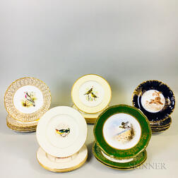 Twenty-three Bird-decorated Porcelain Plates