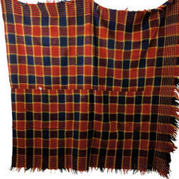 Two Three-color Homespun Wool Blankets.     Estimate $100-200