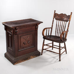 Oak Odd Fellow Desk with Crossed Gavels Decoration and a Pressed-back Armchair