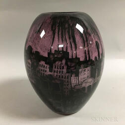 Art Glass Vase Depicting an Industrial Cityscape