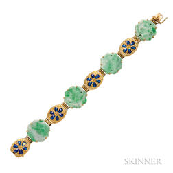 18kt Gold, Jade, and Enamel Bracelet