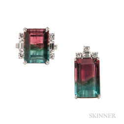 14kt White Gold and Watermelon Tourmaline Ring and Pendant
