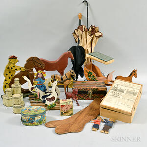 Group of Wooden Toys and Doll Accessories.