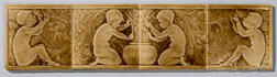 J. & J.G. Low Art Tile Works Four-part Tile of Putti with Grapes
