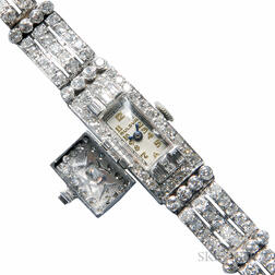 Platinum and Diamond Watch, Bulova