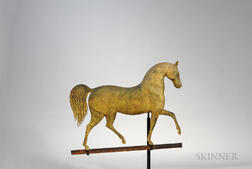 "Gilt Molded Copper and Cast Zinc ""Index"" Horse Weathervane"