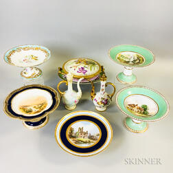 Nine Hand-painted Porcelain Items