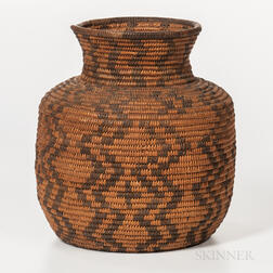 Southwest Polychrome Basketry Jar