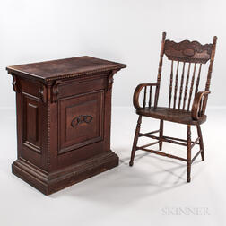 Oak Odd Fellows Desk with Chain Link Decoration and a Pressed-back Armchair