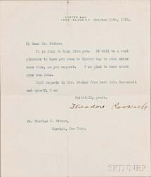 Roosevelt, Theodore (1858-1919) Typed Letter Signed 15 October 1915.