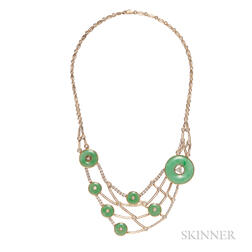 18kt Gold, Jade, and Diamond Necklace