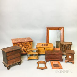 Ten Pieces of Miniature Mostly Grain-painted and Tiger Maple Furniture.