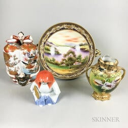 Four Japanese Hand-painted Porcelain Items