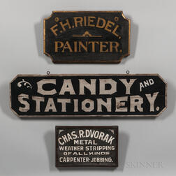 Three Early Painted Advertising Signs