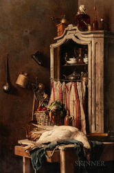 Attributed to François Cornelis Knoll (Dutch, 1771-1827)      Still Life with Cupboard, Vegetables, and Game