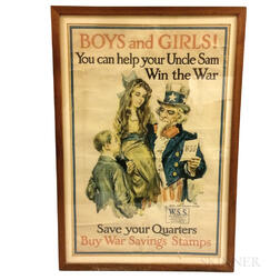Framed James Montgomery Flagg WWI Poster Boys and Girls!