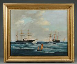 American School, 19th Century      Action at Sea Between U.S.S. Kearsarge   and C.S.S. Alabama.