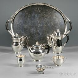 Five-piece Georg Jensen Sterling Silver Tea and Coffee Service with Associated   Sterling Silver Tray and Tea Strainer with Stand