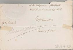 Harrison, Benjamin (1833-1901) Partial Document Signed, post-1890.