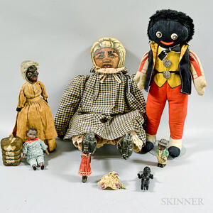 Group of Black Dolls and Carved and Painted Figures.