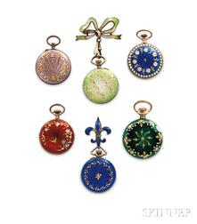 Six Guilloche Enamel and Silver Lady's Pendant Watches