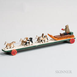 Carved and Painted Sled and Dog Team Pull Toy