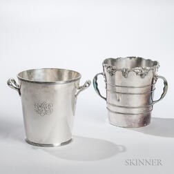 Two Silver-plated Wine Coolers, one Meriden with a chased grapevine rim, ht. 8 1/4, the other with a reeded rim and engraved monogram,