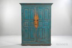 Blue-painted Paneled Cupboard