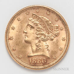 1880 $5 Liberty Head Gold Coin.     Estimate $200-300