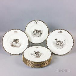 Set of Twelve Wedgwood Porcelain American Sporting Dog Plates