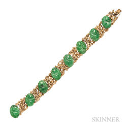 18kt Gold and Jade Bracelet