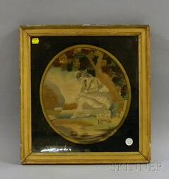 """Giltwood Framed 19th Century English Silk Needlework and Painted Panel   """"Mariah's Journey,"""""""