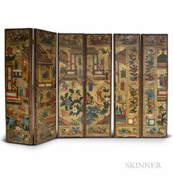 Polychrome-painted Leather Six-panel Screen