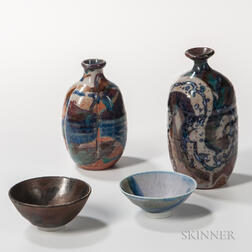 Makoto Yabe (1947-2005) Studio Pottery Sake Bottles and Cups