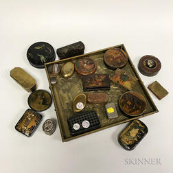 Twenty Continental Metal, Lacquer, and Agate Boxes.     Estimate $300-500