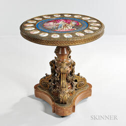Sevres-style Gilt-bronze Table with Porcelain Plaques