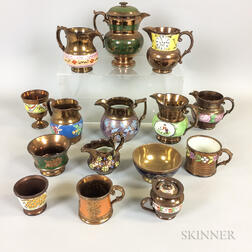 Fifteen Copper Lustre Ceramic Vessels