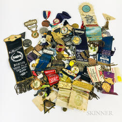 Group of Enameled and Metal Pins, Button, and Medals.     Estimate $100-150