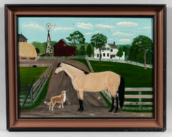 American School, Late 19th/Early 20th Century      Horse and Dog on the Farm