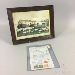 Framed Baillie Lithograph Noah's Ark   and a Potomska Mills Corporation Stock Certificate