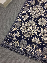 Blue and White Woven Wool Coverlet