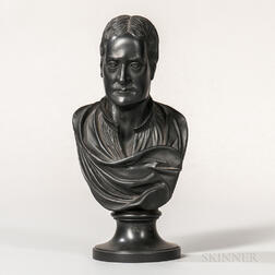 Wedgwood & Bentley Black Basalt Bust of Newton