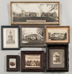 Seven Framed Photographs of Odd Fellows Lodges and Homes