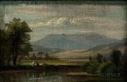 Attributed to Worthington Whittredge (American, 1820-1910)      Hudson Valley Oil Sketch