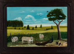 American School, 20th Century      Farm Scene with Sheep and Peacock
