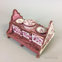 English Pink Lustre Ceramic Inkstand