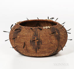 Pomo Polychrome Basketry Bowl