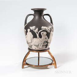 "Wedgwood Solid Black Jasper ""Northwood"" Copy of the Portland Vase"