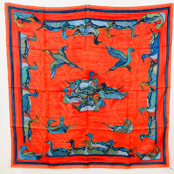 "Hermes ""La Mare aux Canards"" Silk Scarf"